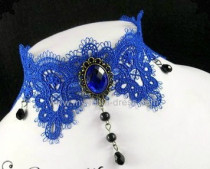 Royal Blue Retro Lolita Necklace