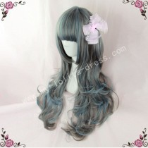 70cm Dark Grey Blue Curls Lolita Wig