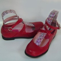 Wine Red PU Crossed Straps Shoes