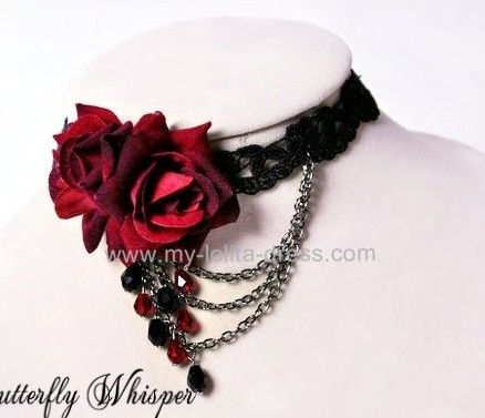 Double Roses Belts Lace Lolita Choker Gothic