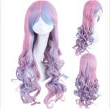 Sweet Pink Blue 70cm Long Curls Lolita Wig