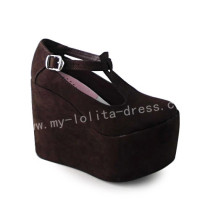 Classic Coffee Suede High Platform Shoes