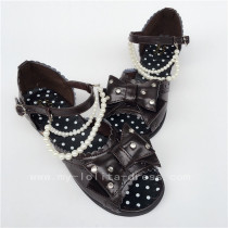 Cute Coffee Crystal Beads Lolita Summer Shoes