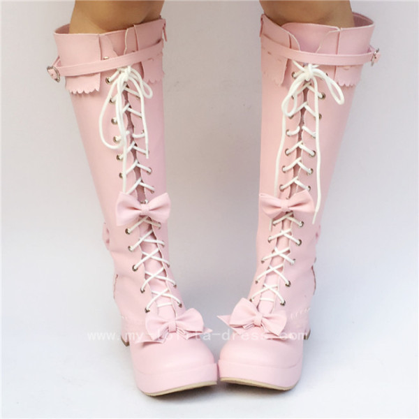 Sweet Pink Bows Lace Up Lolita Boots