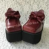 Beautiful Matte Wine Lolita Square Heels High Platform