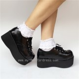 Gothic Matt Black Rivet High Platform Shoes