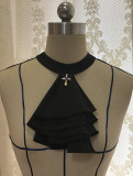Little Dipper Silent Poetry~ Gothic Lolita Long Sleeves Blouse - Ready Made Black Size M - In Stock