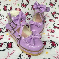 Shiny Purple Bows Lolita Shoes
