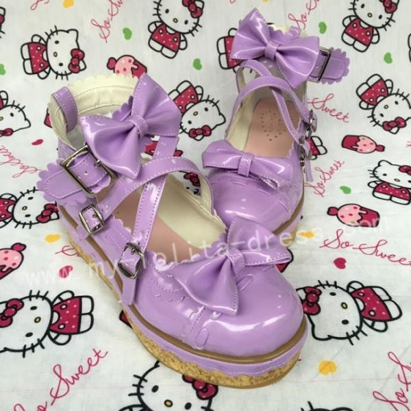Shiny Purple Bows Lolita Shoes