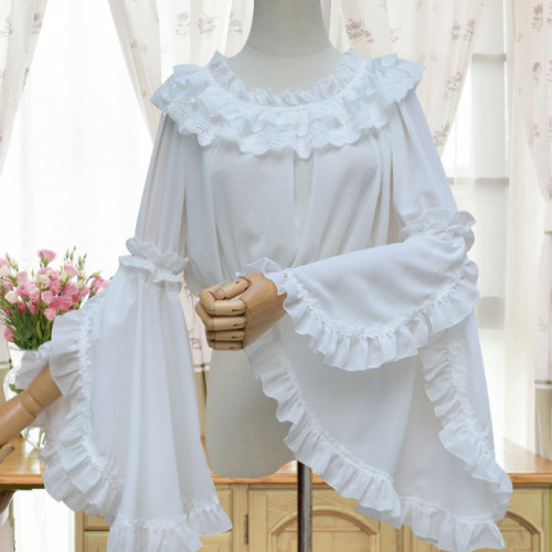 Chiffon Tailored Hime Sleeves Lolita Inner Blouse Beige - In Stock