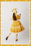 Alice Girl ~Sunflower Classic Lolita Short Sleeves OP -Pre-order Ginger Yellow Short Sleeves Size XL - In Stock