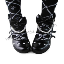 Black Bows Beads Lolita Princess Shoes