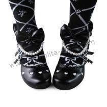 Black Bows Beads Lolita Princess Shoes