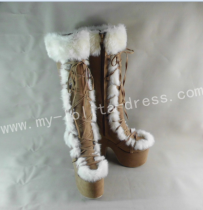 Sweet Brown White Lolita Winter Boots O