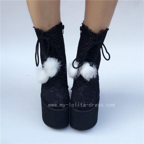 Black Lace Lolita High Platform Boots