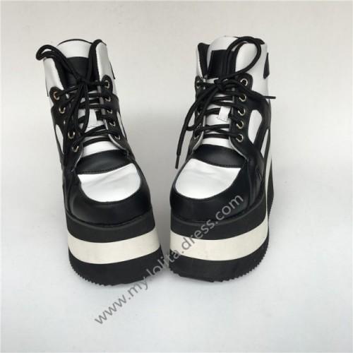 High Platform Black with White Lolita Boots