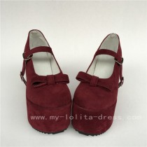 Wine velvet Single Strap Lolita High Platform Shoes with Bows