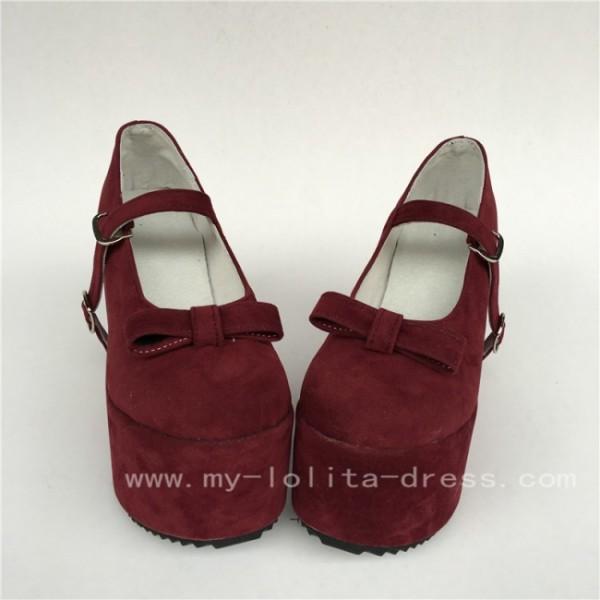 Wine velvet Single Strap Lolita High Platform Shoes with Bows