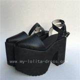Black Matte Square Heels Lolita High Platform Shoes