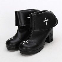 Angelic Imprint- Gothic Square Heels Lolita Short Boots