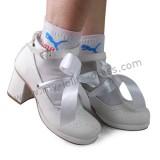 Matte White Satin Ribbon Lolita Shoes