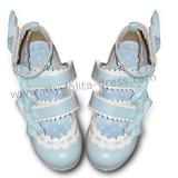 Cute Double Color Bows Lolita Shoes