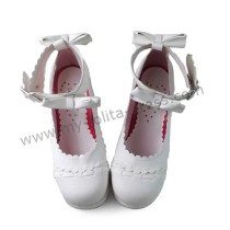 Antaina Matte White Bows Lolita Shoes