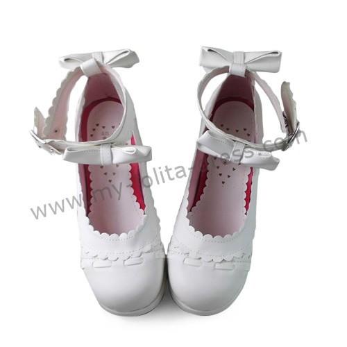 Antaina Matte White Bows Lolita Shoes