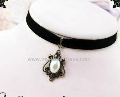 White Bead Black Belt Retro Necklace 2 Styles