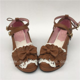 Sweet Light Coffee Bow Straps Lolita Square heels Shoes