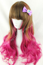 Saddle Brown Deep Pink Curls Lolita Wig