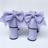 Beautiful Wine Glossy Lolita Bows Heels Shoes