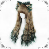 70cm Saddle Brown Green Curls Lolita Wig
