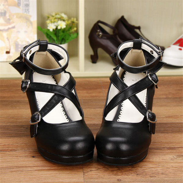 Angelic Imprint- Elegant Black Bow Lolita Princess Heels Shoes