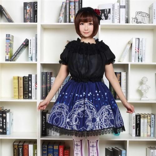 Dark Blue Stars & Moon Magic Array Printed Gothic Lolita Pleated Skirt