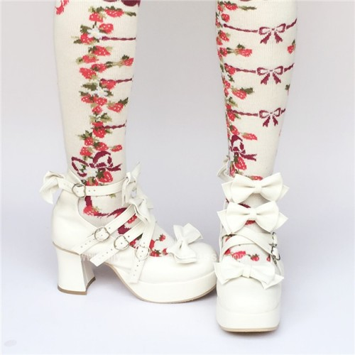 White Cross Straps Bows Lolita Shoes