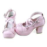 Sweet Pink Belts Lolita Shoes