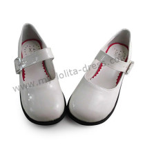 Glossy White Flats Girls Lolita Princess Shoes