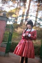 HMHM Lolita Long Sleeves Wine Lolita OP Dress