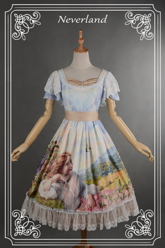 Neverland Lolita ~The Song of The Lark~ Fan Sleeves Sweet Lolita OP Dress