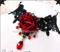 Red Rose Luxury Lace Vampire Vintage Lolita Choker