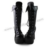 Classic Matte Black Middle Shaft Lolita Boots