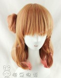 Shoulder Long Inner Curls Ponytail Bun Lolita Wig for Girls