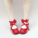 Beautiful Claret Matte Bows Lolita Shoes