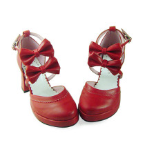 Burgundy Double Bows Lolita Shoes