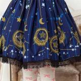 Sweet Dark Blue Stars & Moons Printed Lolita Pleated Skirt