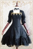 Strawberry ~Devil Rose~ Vintage Black Printed Lolita OP Dress