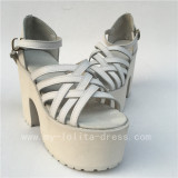 Chariming White Genuine Leather Cross Straps Lolita HIgh Platform Shoes