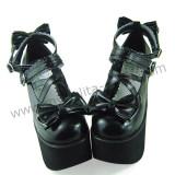 Black Bows High Platform Lolita Shoes