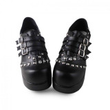 Elegant Black Lolita Square Heels Shoes